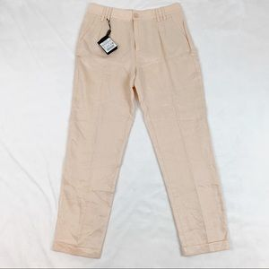 Massimo Dutti high rise 100% linen trousers pants